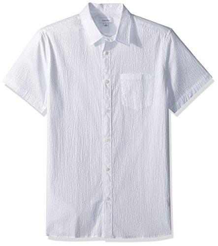 Calvin Klein Men's Short Sleeve Button Down Solid Shirt, Standard White, M