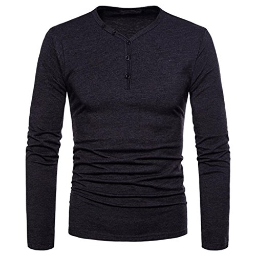 - Mens T Shirts Clearance Sale vermers Fashion Men's Personality Slim Fit Tees Casual Long Sleeve Solid Top Blouse(L, Dark Gray)