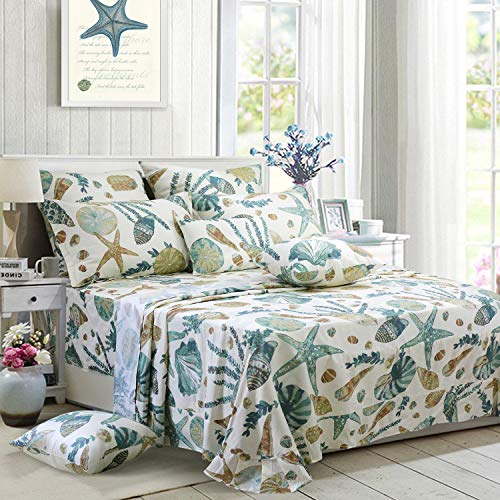 FADFAY Sheet Set Queen Beach Themed Bedding Sets 100% Cotton Super Soft Coastal Bedding White Teal Seashells and Starfish Nautical Bedding with Deep Pocket Fitted Sheet 4-Pieces Queen Size ()