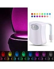 Sporthomer Advanced 8-Color Changing Smart Motion Sensor LED Toilet Bowl Night Light, Toilet Lights Inside Toilet Human Body Motion Activated Sensor Seat Lamp, Light Detection for Bathroom & Washroom