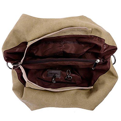 Daily Bag Shoulder Handbag Hobo Women's Top Canvas Brown Tote Handle xgC8wAOq