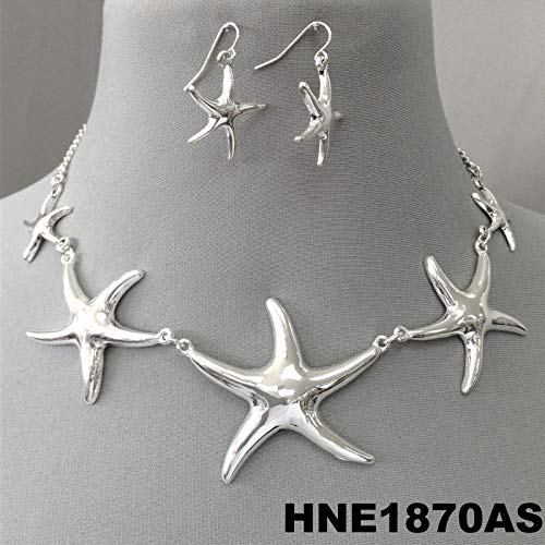 (Silver Tone Chain Sea Life Inspired Starfish Pendants Necklace Earrings Set)
