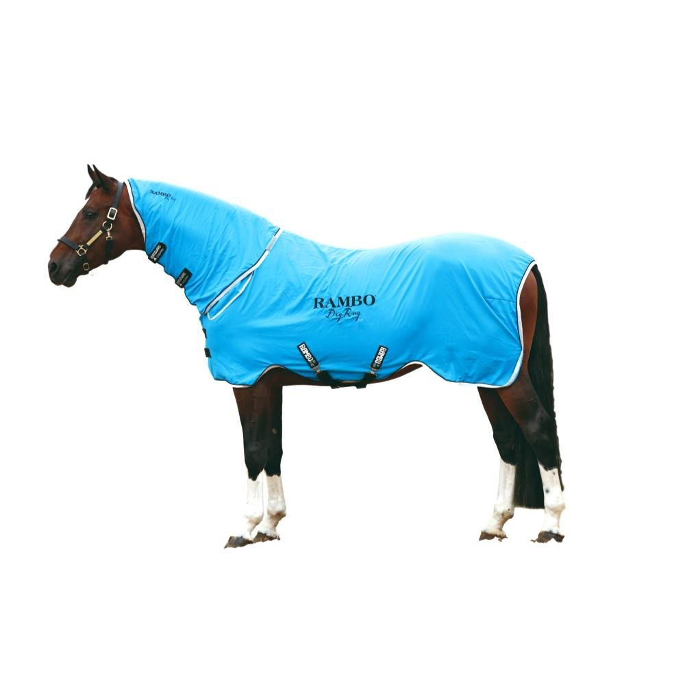 Horseware Rambo, Supreme Dry with Neck Cooler Sheet, Blue/Black/White, Medium by Horseware