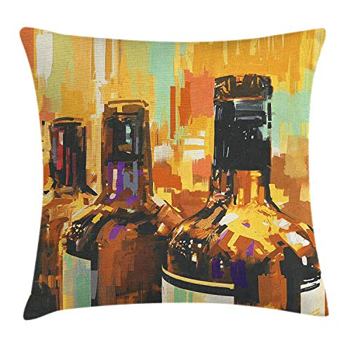 DDBACK Wine Throw Pillow Cushion Cover, Colorful Painting Style Bottles of Wine with Vivid Bruststrokes Beverage Artwork Print, Decorative Square Accent Pillow Case, 18 X 18 inches, Multicolor