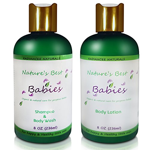 Baby Lotion and Body wash Set - Gentle Tear Free Shampoo and Calming Moisturizer - Organic and Natural - Best Gift for your Loved Ones - 8 oz (Protectant Scented Body Lotion)
