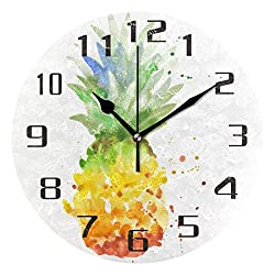 KUWT Watercolor Pineapple Pattern Wall Clock Silent Non-Ticking 9.5 Inch Round Clock Acrylic Art Painting Home Office School Decor