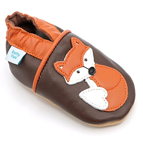 Dotty Fish Soft Leather Baby Shoes with Non Slip Suede Soles. Toddler Shoes. Brown and Orange Fox Design. Girls and Boys. 2-3 Years ()