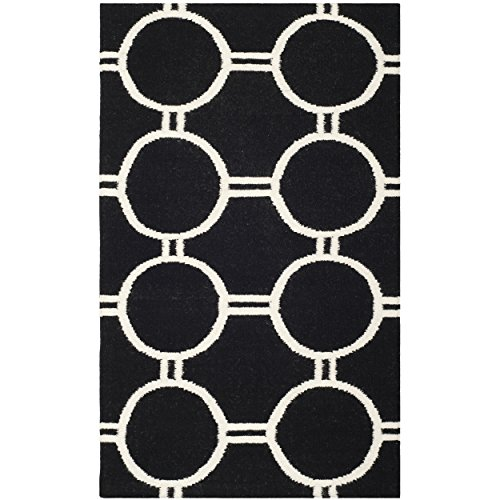 Cheap Safavieh Dhurries Collection DHU636A Hand Woven Black and Ivory Premium Wool Area Rug (4′ x 6′)