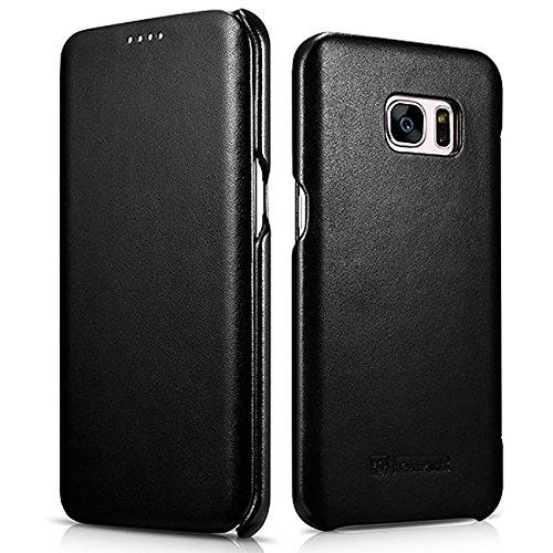 Funda Piel Samsung Galaxy Galaxy S7 Edge [iCareR Original] Flip Case Cover Cubierta Carcasa Case protectora Cuero Genuino, Cierre magnético - Negro Negro