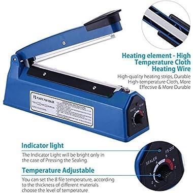 OSFT 8 inch Package Sealing Machine Plastic Vacuum Tool Heat Hand Sealer (8 Inch, Blue) 11