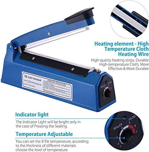 OSFT 8 inch Package Sealing Machine Plastic Vacuum Tool Heat Hand Sealer (8 Inch, Blue) 4