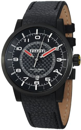 Ferrari Carbon Fiber Dial Black Leather Automatic Men's Swiss Made Watch FE-12-IPB-CP-BK