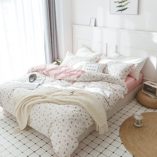 HIGHBUY Floral Printed Kids Duvet Cover Set Full Cotton Pink for Girls Reversible Garden Style Bedding Sets Queen with Zipper Closure for Children Comforter Covers Lightweight Soft by HIGHBUY (Image #2)