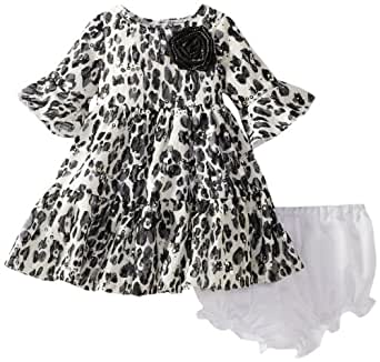Pippa & Julie Baby Girls' Sparkly Animal Print Dress, Black/White, 18