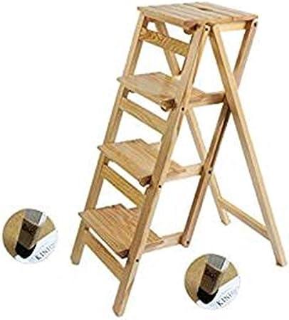 DQMSB Taburete De Escalera De Madera Maciza Casa Plegable Escalera Multifunción Pedal De Escalera Interior Taburete De 4 Pasos For La Cocina En Casa Oficina Jardín Herramientas De Escalada Taburete: Amazon.es: Hogar