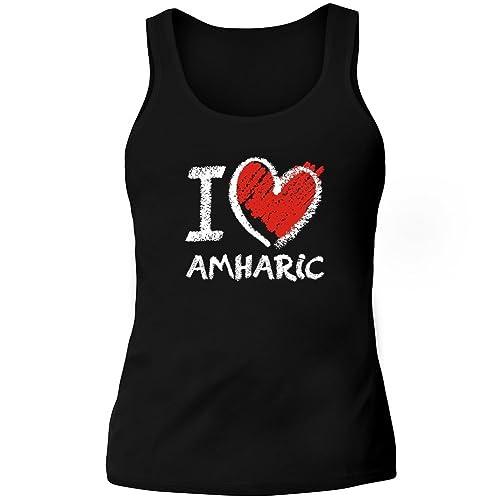 Idakoos I love Amharic chalk style - Lingue - Canotta Donna