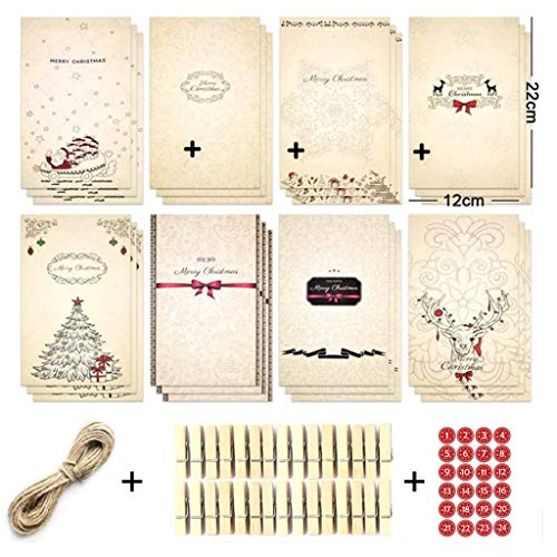 Xiuinserty Christmas Advent Calendars Kraft, Paper Candy Bag with Stickers Clips Rope 24Pcs