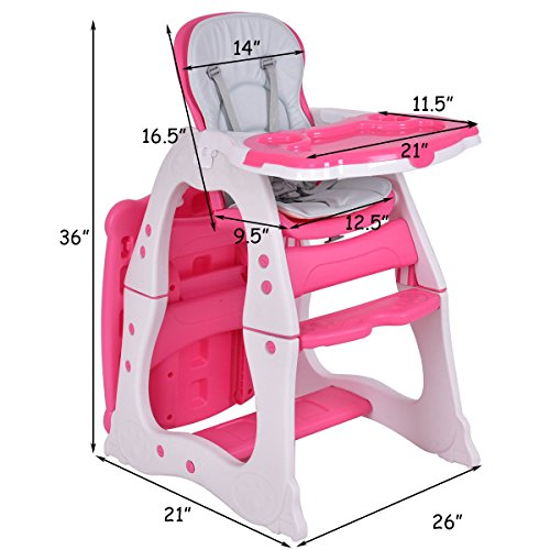 Costzon 3 in 1 Baby High Chair Desk Convertible Play Table Conversion Seat Booster (Pink) by Costzon (Image #5)