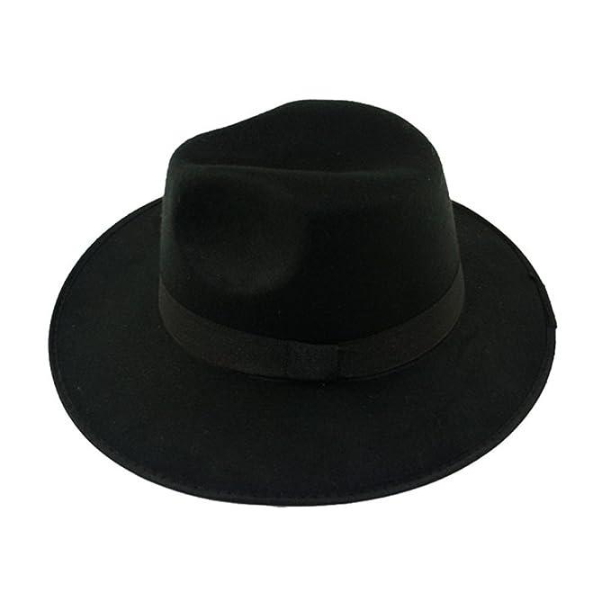 c3517a1661d Girl Women Lady Fashion Autumn Winter Warm Panama Hat Caps Black   Amazon.co.uk  Clothing
