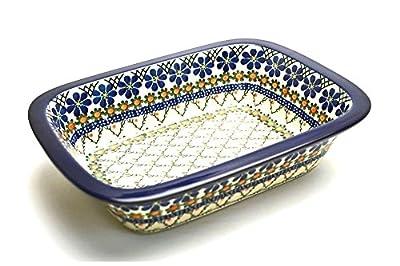 Polish Pottery Baker - Rectangular with Grip Lip - Primrose