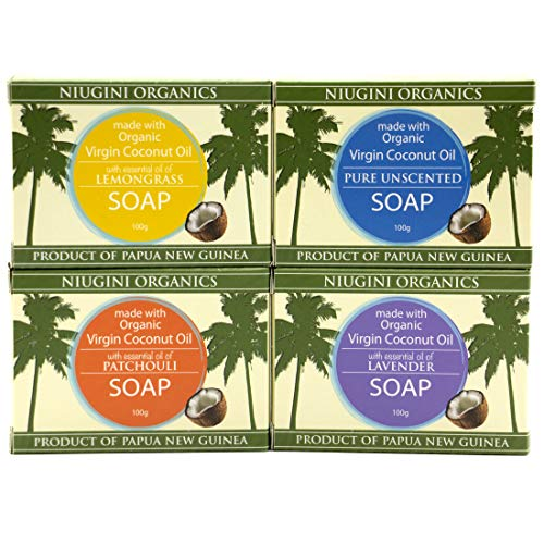 Organic Coconut Oil Soap Bar (Mix: Unscented, Lavender, Lemongrass, Patchouli, 3.5 oz x 4-pack)