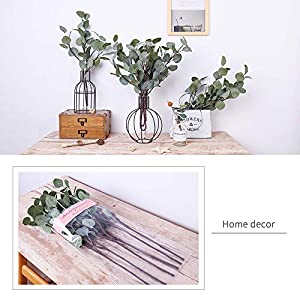 YUYAO Artificial Plants Silver Dollar Eucalyptus Leaves 6Pcs Leaf Silk Artificial Greenery Stems Fake Plants Leaves for Home Wedding Party Decoration 7