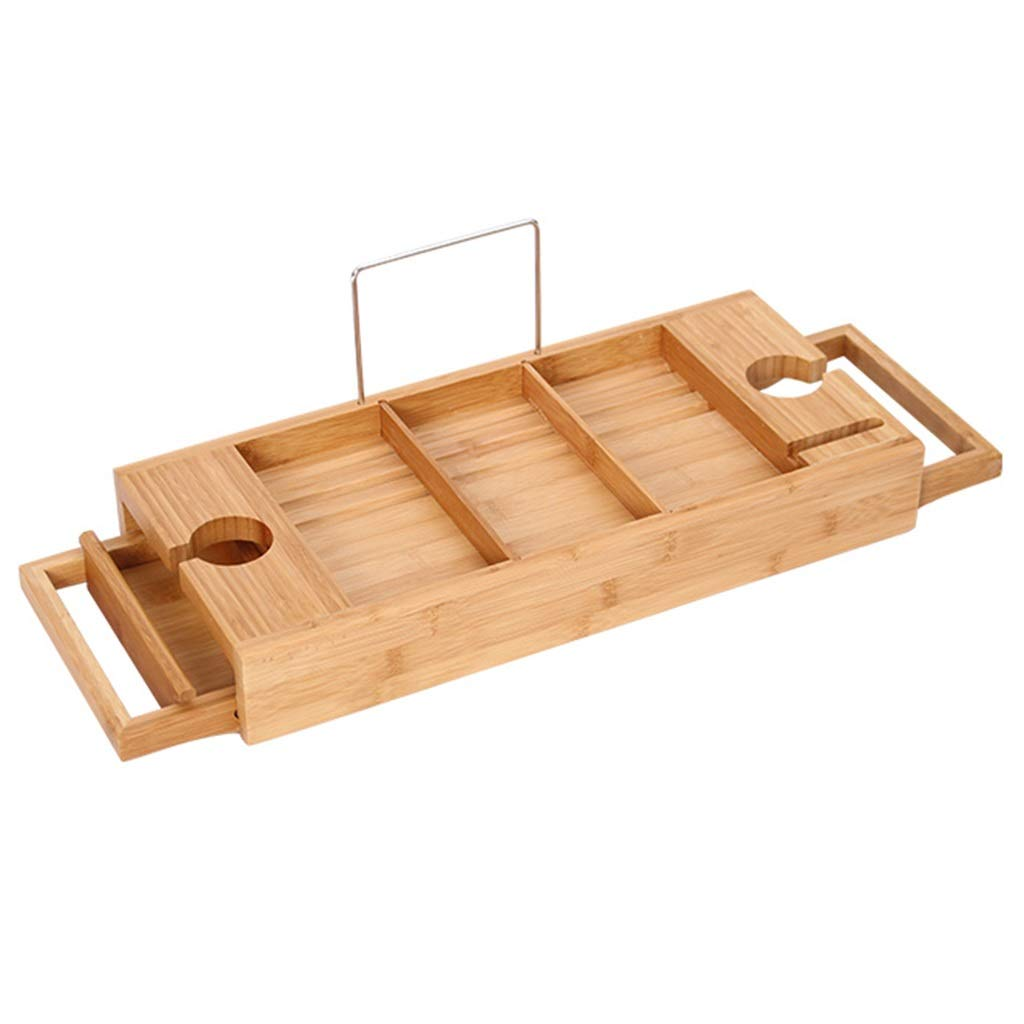 ZhaoLiRuShop Bathtub Trays Bath Caddy Bath Tray Bath Board Movable Multifunctional Bath Tub Rack Storage Panel Telescopic Non-Slip Bathtub Partition Bamboo (Color : Natural, Size : 74.519.6cm) by ZhaoLiRuShop (Image #1)