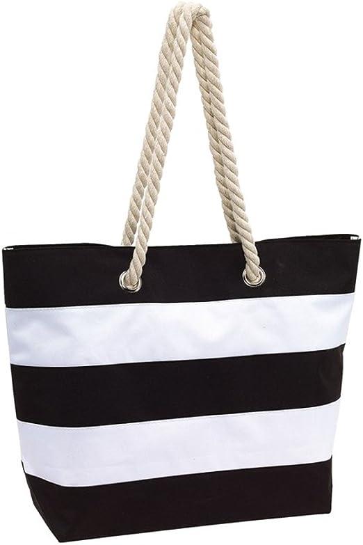 Bolsa de playa mujer, 2 asas de cordón de algodón con ojales de metal, negro: Amazon.es: Equipaje