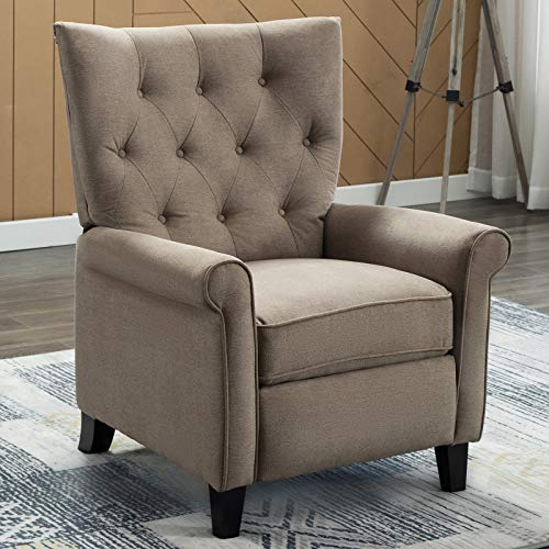 ANJ Accent Recliner Chair for Living Room Easy to Push Mechanism, Single Chair with Roll Arm Elegant Khaki-P6003