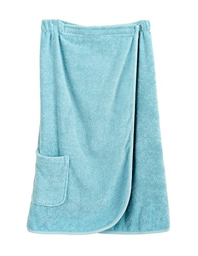 TowelSelections Women's Wrap, Shower & Bath, Terry Spa Towel Large Blue Glow