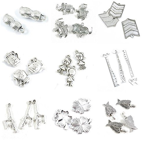 - 28 PCS Jewelry Making Charms Angel Wings Lucky Clover Leaf Dancing Gymnastics Ruler Cat Bookmark Little Girl