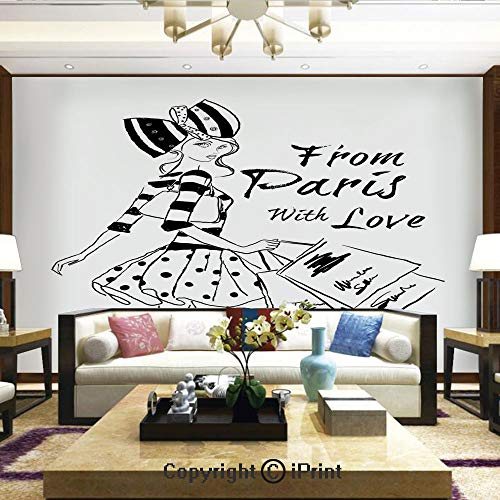 Mural Wall Art Photo Decor Wall Mural for Living Room or Bedroom,from Paris with Love Fashion Hand Drawn Girl Figure Shopping Polka Dot Design Skirt Decorative,Home Decor - 100x144 inches -