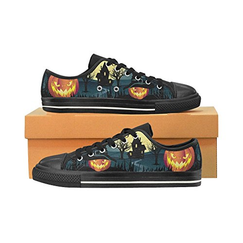 D-story Custom Happy Halloween Pumpkin Womens Classic Canvas Shoes Moda Sneaker Multicoloured2