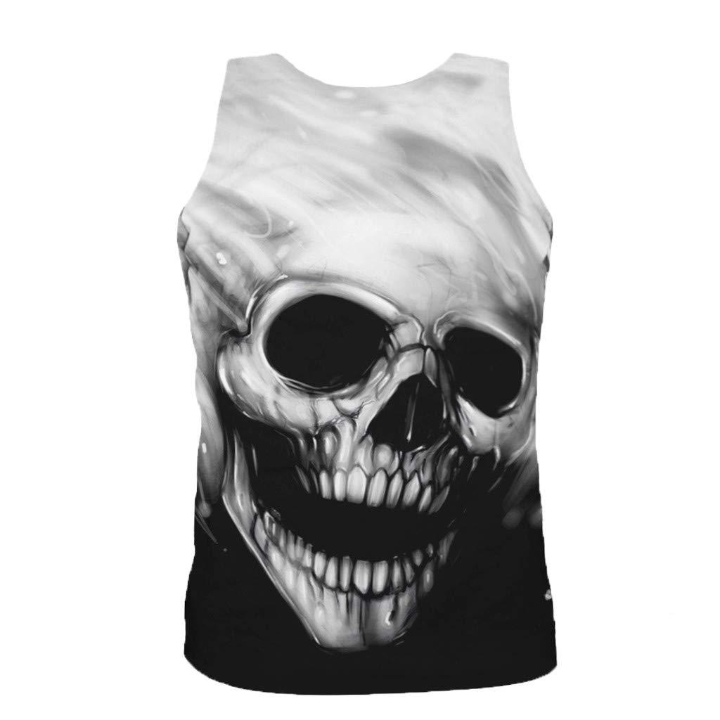 Hohaski Mens Fashion 3D Printed Sleeveless Top Leisure Sports Vest Blouse Top Summer Casual Basic Sport Tank