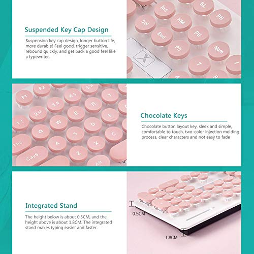 PETA Keyboard and Mouse Combo, Cute Girl Round Key Breathing Backlight Vintage Steampunk Gaming Business Slim Keyboard Mice Kit, Typewriter Keycaps, Full Size Keyboards for PC Laptop Computer (Pink)