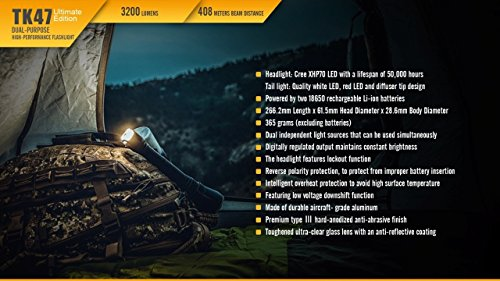 Fenix TK47 UE 3200 Lumen 1339 feet beam dual-purpose LED Flashlight with 4 X EdisonBright CR123A Lithium batteries, Holster & Lanyard bundle by EdisonBright (Image #7)