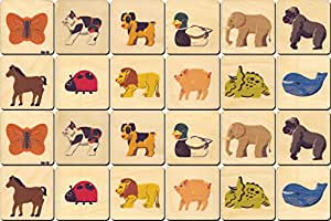 Animal Memory Tiles - Made in USA 24 tiles- 2 each of 12 images