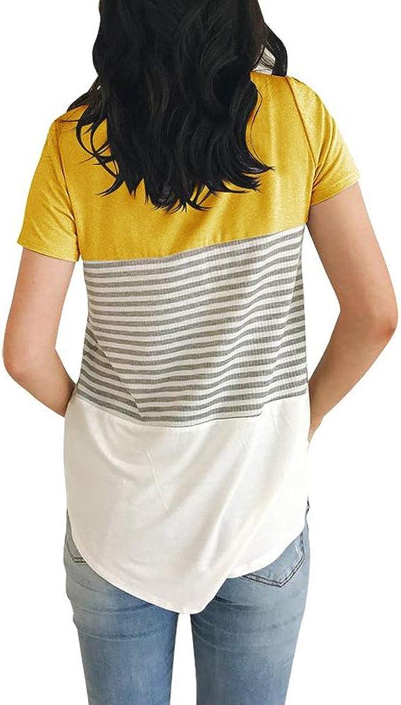 Ajj Womens Round Neck Blouse Triple Color Block Stripe T-Shirt Casual Blouse
