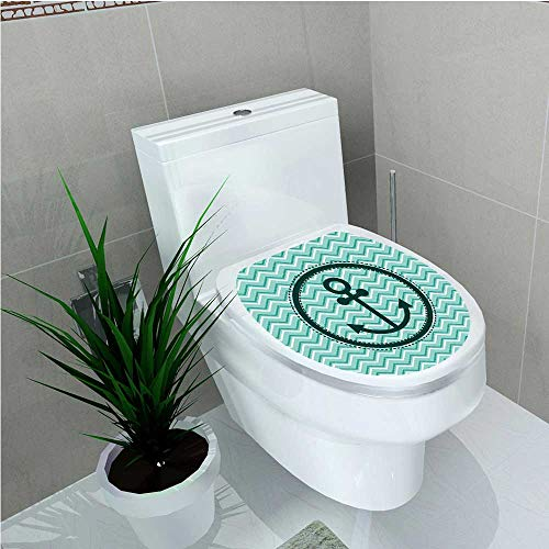 aolankaili Bathroom Toilet seat Sticker Decal Horizontal Zig Zag Pattern Background Anchor Image in Circle Shape Medallion W13 x ()