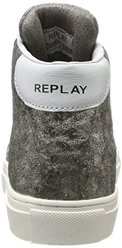 REPLAY Hall, Baskets Hautes Femme Gris (Platin)