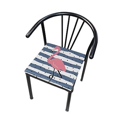 Bardic FICOO Home Patio Chair Cushion Flamingo Polka Dot Square Cushion Non-Slip Memory Foam Outdoor Seat Cushion, 16x16 Inch: Home & Kitchen