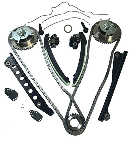 Idle Shaft Gear Type - Auto Parts Prodigy Ford TRITON 3-Valve Timing Chain Kit with Tensioner Guides Cover Gaskets Cam Phaser Engine Variable Camshaft Timing Cam Phaser VCT VVTi Actuator Timing Sprocket Bolt and Gaskets
