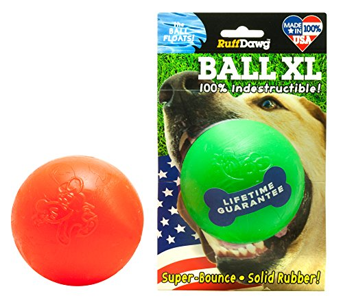(Ruff Dawg Ball XL Solid Rubber Dog Toy Large Assorted Neon Colors)