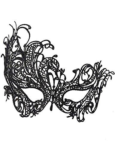 [Mwfus Women's Sexy Black Lace Venetian Masquerade Party Ball Halloween Eye Mask Fancy Face Mask] (Masquerade Mask Tattoo)