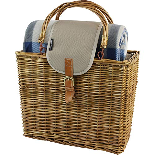 (Willow Picnic Cooler Basket with Picnic Blanket and Insulated Cooler,Foldable Handle Wicker Hamper with Real Leather and Aluminum Insulate Bag)