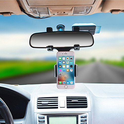 Universal Car Rear View Mirror Mount Stand Holder For Smartphone - 1