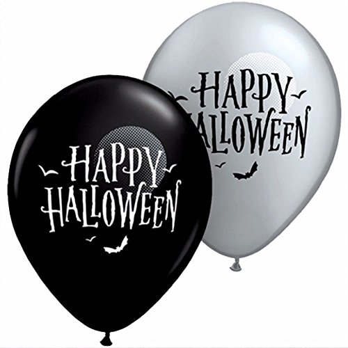 "Custom, Fun & Cool {Medium Size 11"" Inch} 20 Pack of Helium & Air Inflatable Latex Balloons w/ Spooky Bats Simple Happy Halloween Trick or Treat Design [Variety Assorted Multicolor In Black & White] (Simple Scary Halloween Treats)"