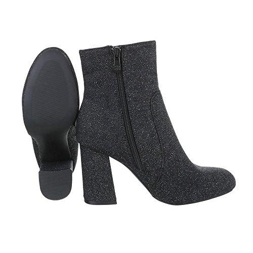 Ital-Design High Heel Stiefeletten Damenschuhe High Heel Stiefeletten Pump High Heels Reißverschluss Stiefeletten Schwarz 6258