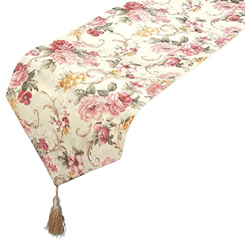 Floral Center - Table Runner - Polyester Cotton Dresser Runner with Tassels and Floral Pattern Designs, Ideal for Coffee Table Runner, Dining Table Runner, or Kitchen Table Runner, White, 78 x 12.05 x 0.1 Inches