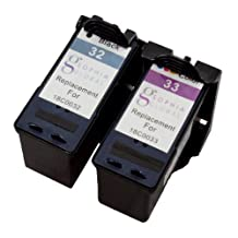 Sophia Global Remanufactured Ink Cartridge Replacement for Lexmark 32 and Lexmark 33 (1 Black, 1 Color)